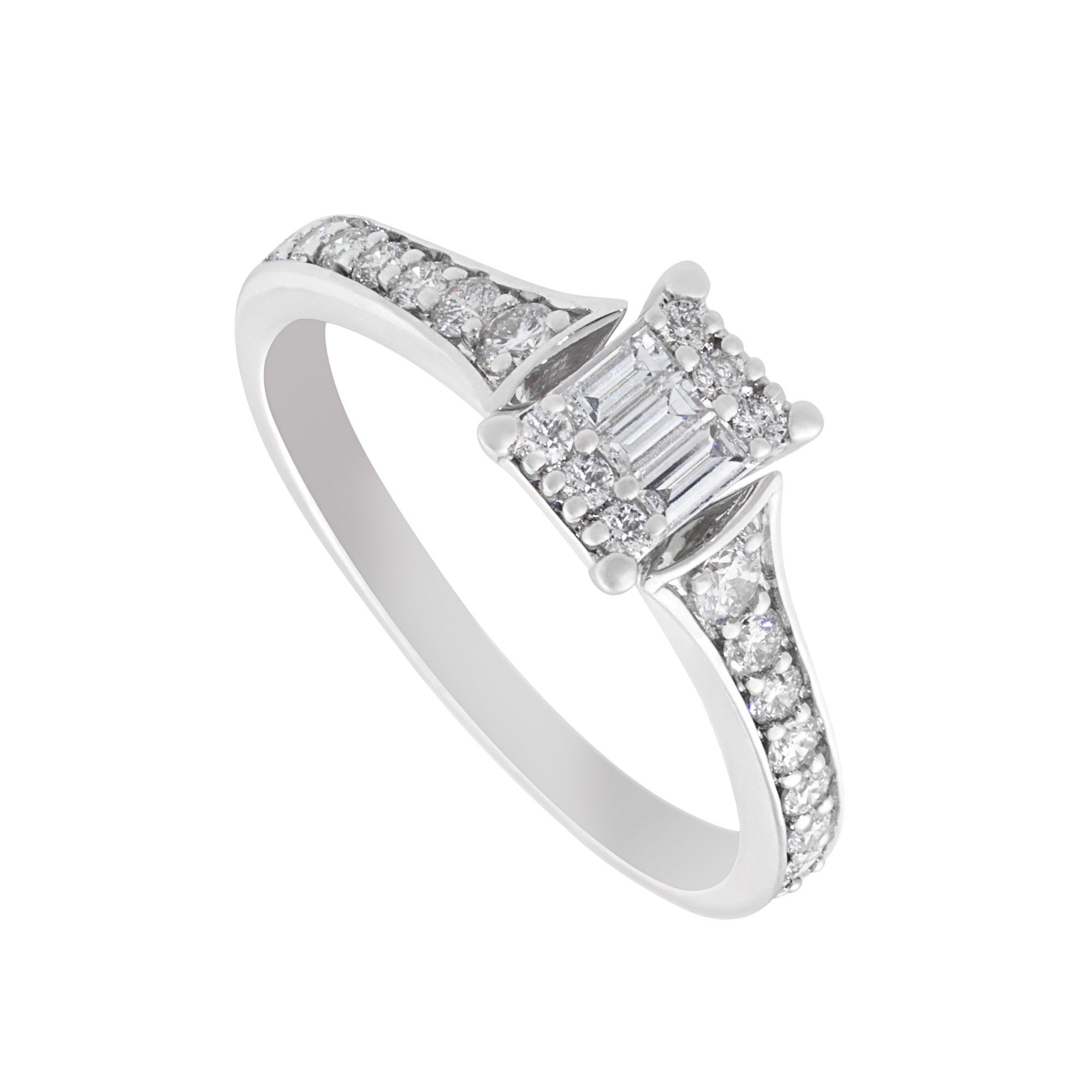 9ct White Gold 044 Carat Baguette And Round Diamond Ring