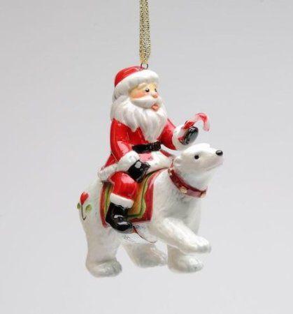 Amazon.com: I Believe: Santa Sitting on White Polar Bear Ornament Collectible: Home & Kitchen