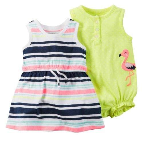 6146bb435cdf Carter s Infant Girls Baby Outfit Flamingo Bodysuit   Colorful Stripe Dress  24m