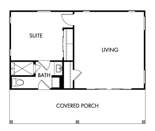 Small Backyard Guest House Plans: Casita Floor Plan