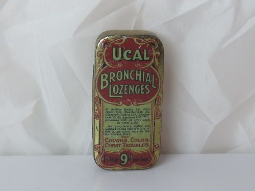 Vintage Ucal Bronchial Lozenges Tin 9d per tin