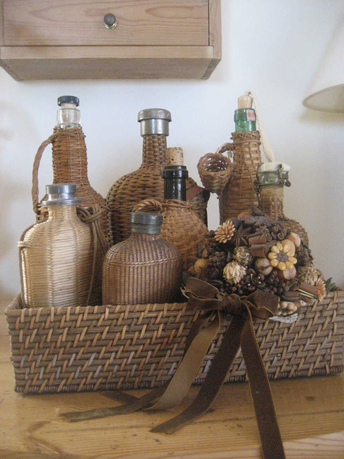 52 FLEA: Baskets and Wicker Covered Bottles