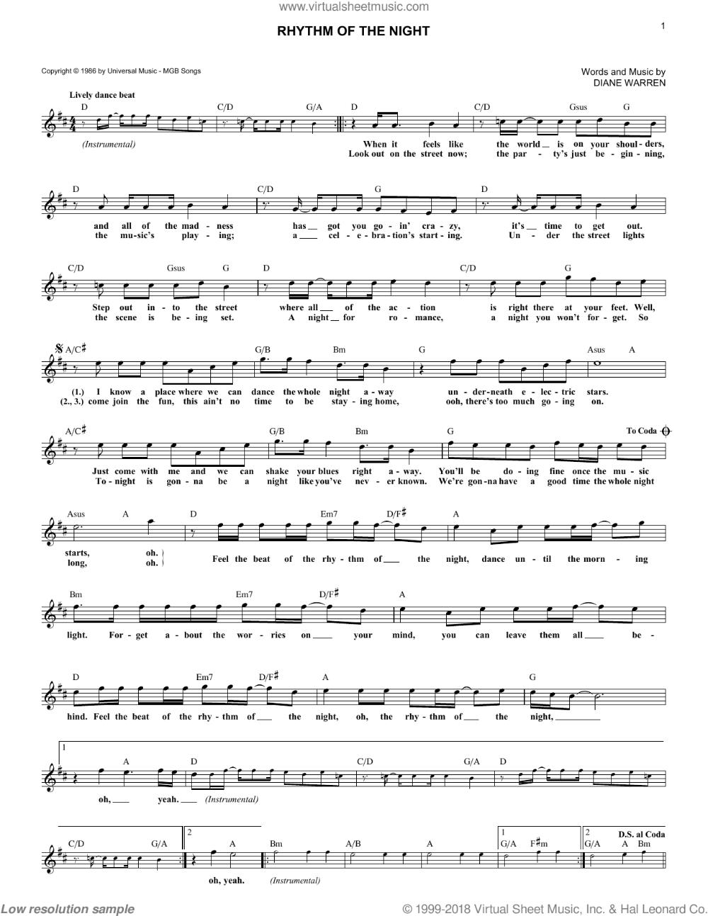 DeBarge - Rhythm Of The Night sheet music (fake book) [PDF] in 2020   Sheet  music, Digital sheet music, Virtual sheet music