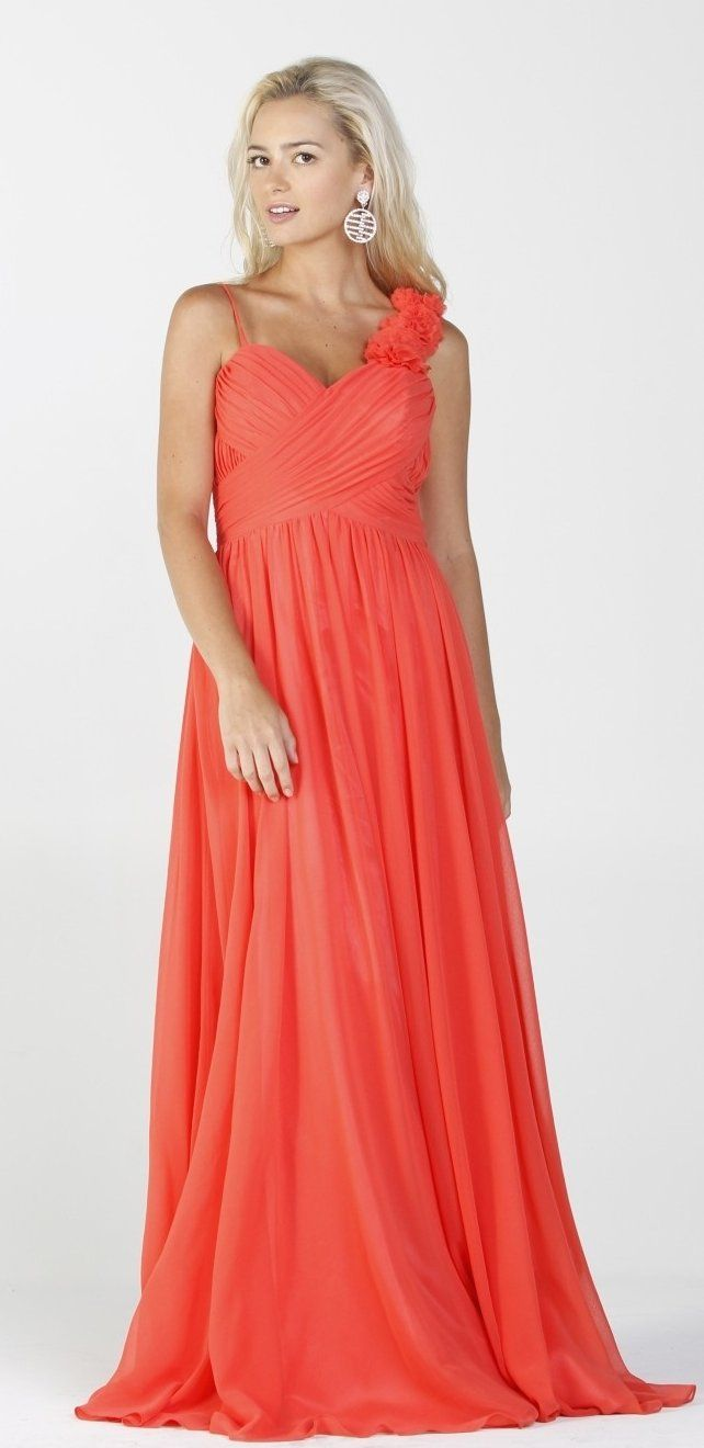 Long Flowy Maxi Dress Coral Spaghetti Straps Flower