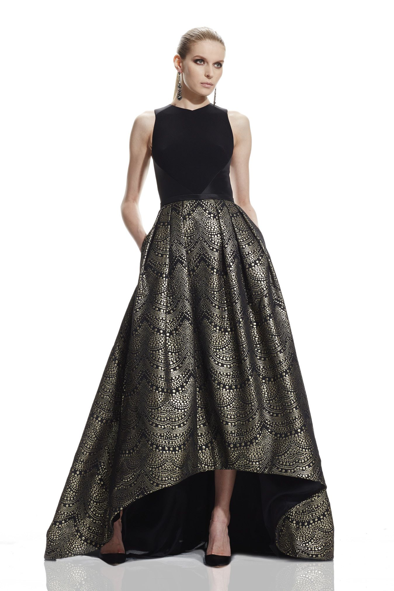 f0caa0b751 Sleeveless cutaway V-neck and cutout back High- Low gown with crepe bodice  and metallic jacquard skirt