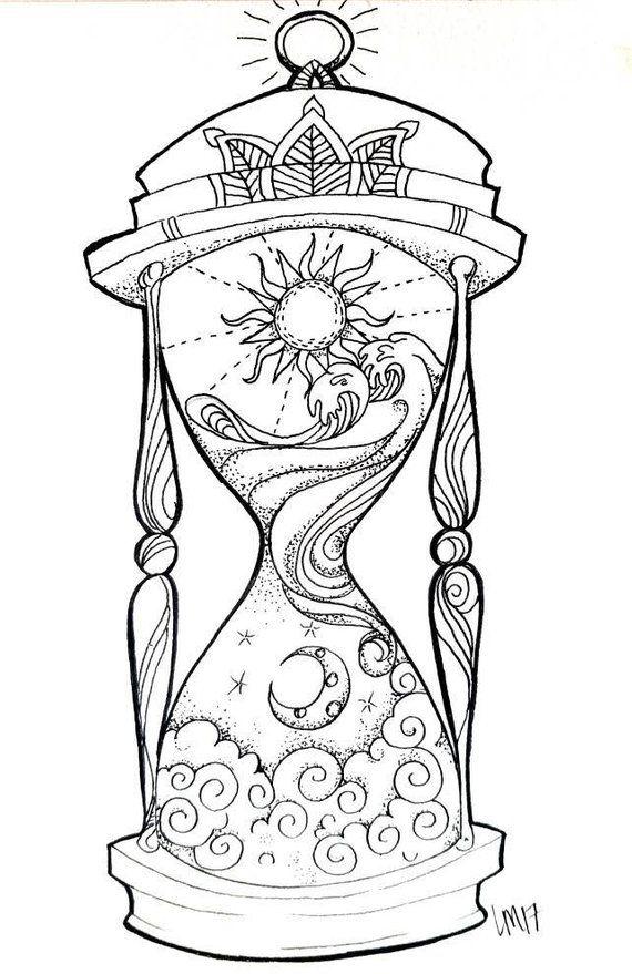 Hourglass Small Art Print Desenho Hippie Desenhos Para Tatuagem