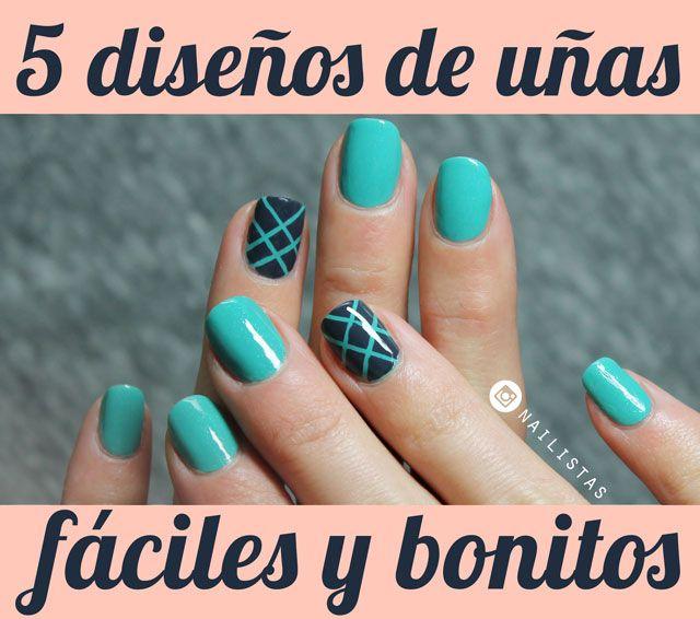 5 diseños de uñas fáciles y bonitos paso a paso   uñas   Pinterest ...