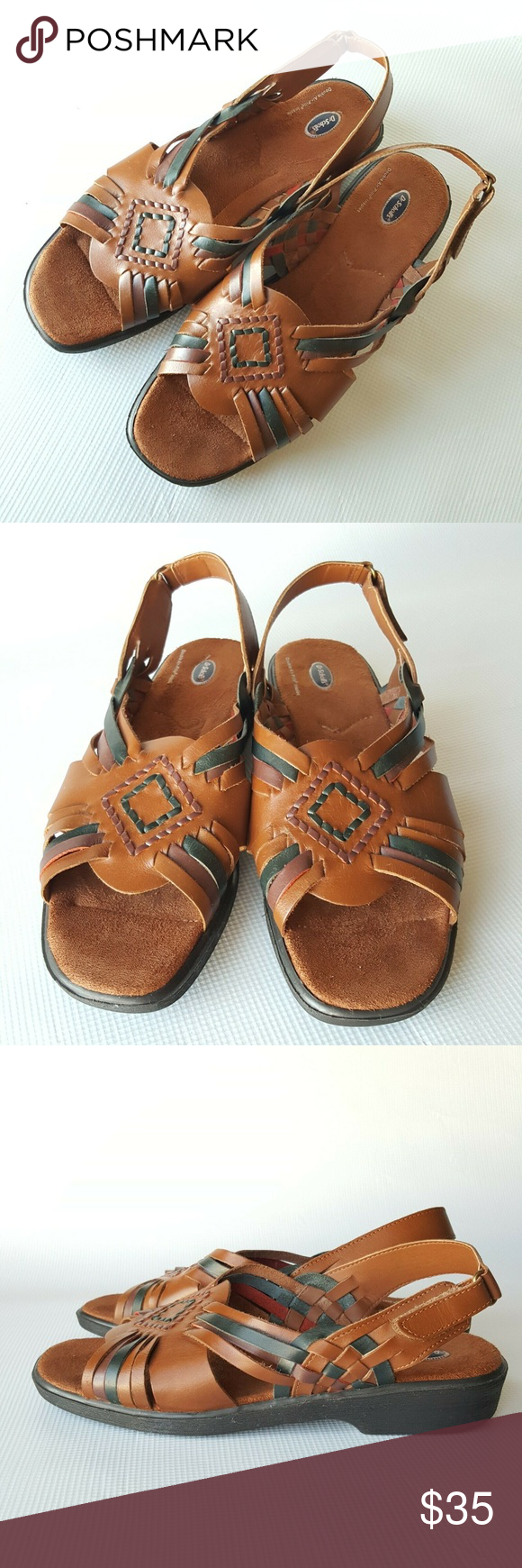 f52492909366 Dr. Scholl s Brown Leather Huarache Sandals Sz.11 Dr. Scholl s Women s  Brown Leather Huarache Slingback Sandals Strappy Size 11 Dr. Scholl s Shoes  Sandals