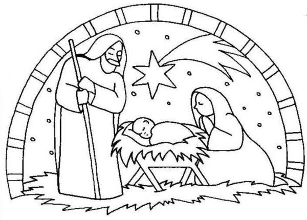 Nativity, : Nativity the Birth of Jesus Scene Coloring Page ...