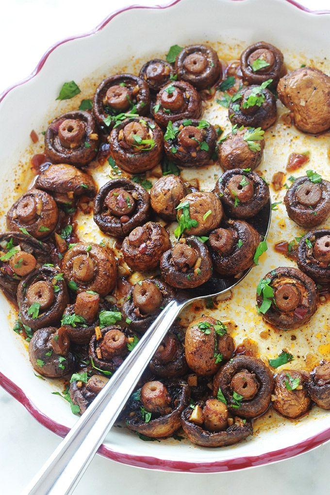 Champignons rôtis au vinaigre balsamique, recette facile rapide