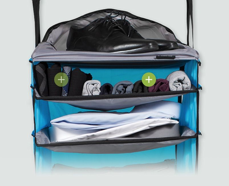 Rise Gear features our innovative shelving system that keeps your stuff neat and organized on the go. Available in weekender bag and carry-on styles