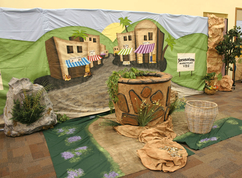 Vbs jerusalem marketplace hand painted back drop for drama for Garden design bible