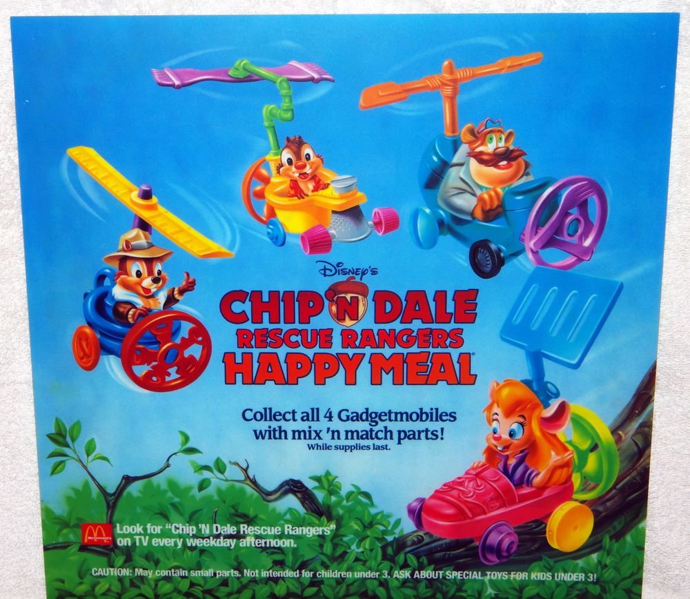 mcdonalds disney chip dale rescue rangers happy meal toys translite