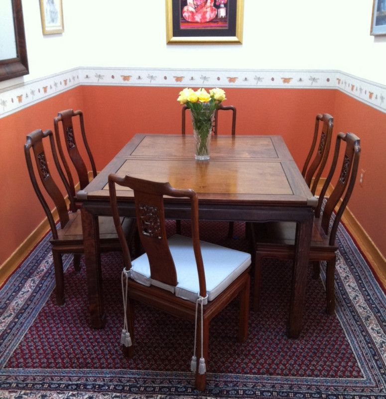 Rosewood Dining Room Set: Thai Solid Rosewood Chinese Dining Room Table Set Chair
