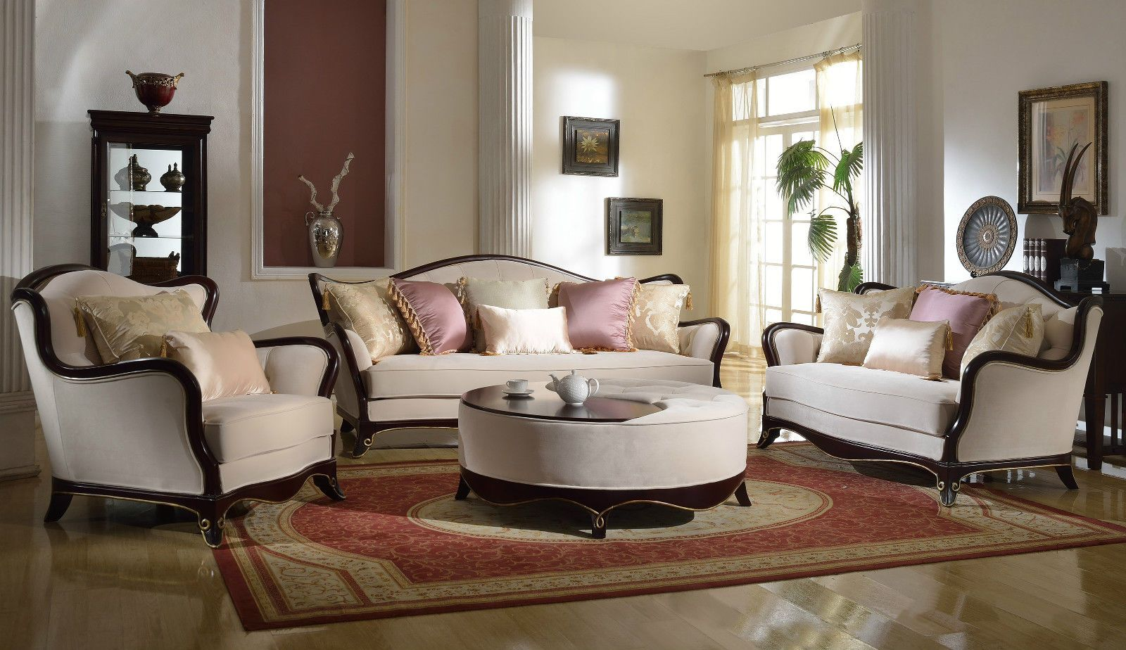 French Provincial Formal Living Room Furniture Set Sofa Loveseat Exposed Wood Formal Living Room Furniture Living Room Sets Furniture French Living Room Furniture