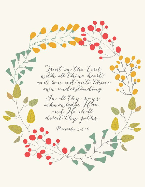 """Trust in the Lord Print - Proverbs 3:5-6 - 8.5""""x11"""""""