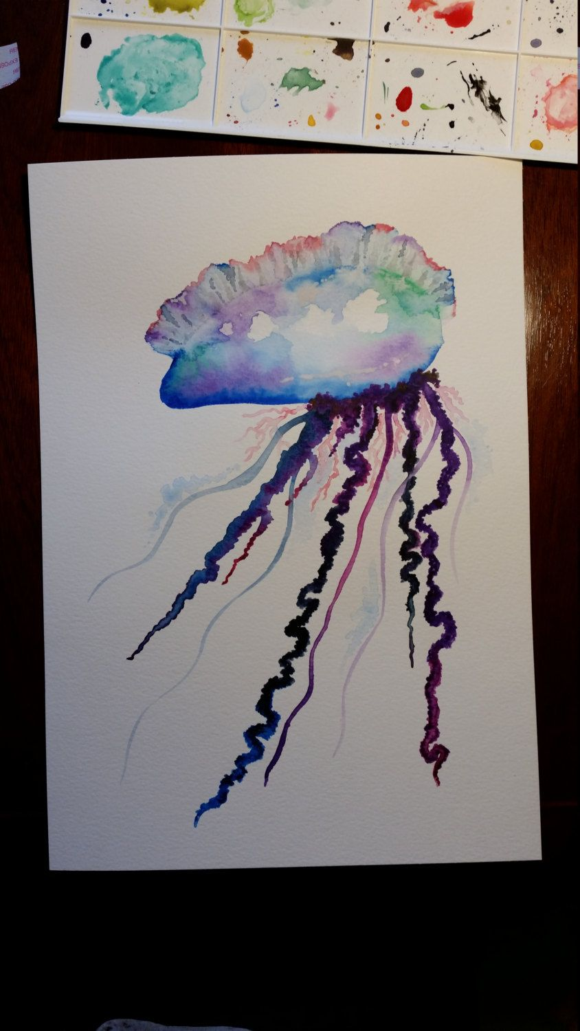 57420c2d9 Original signed watercolour painting~jellyfish~portuguese man o war~1 of 1  by TheWaterBee on Etsy