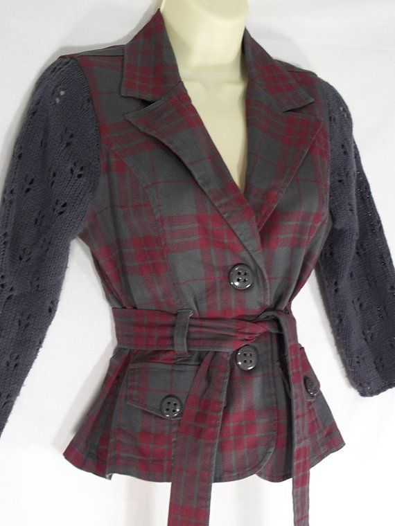 Red & Gray Plaid Sweater Jacket  Upcycled  by BeaUniqueDesigns