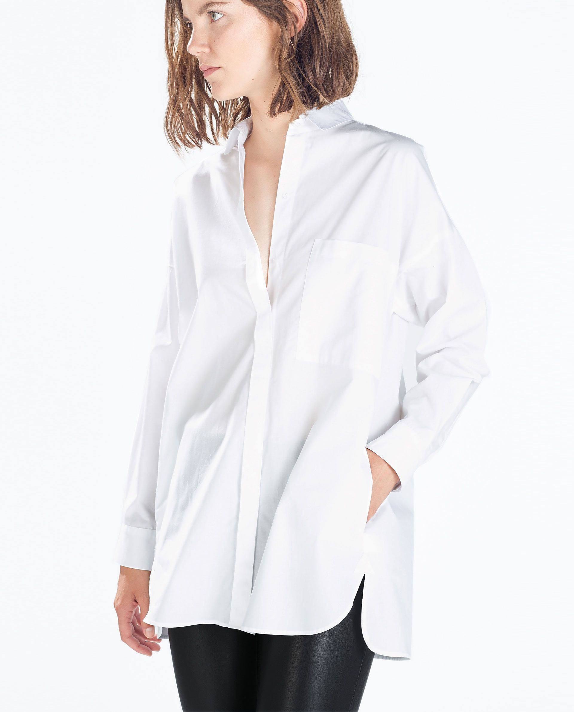 bbfc31636ff zara oversized white poplin oxford button-down shirt
