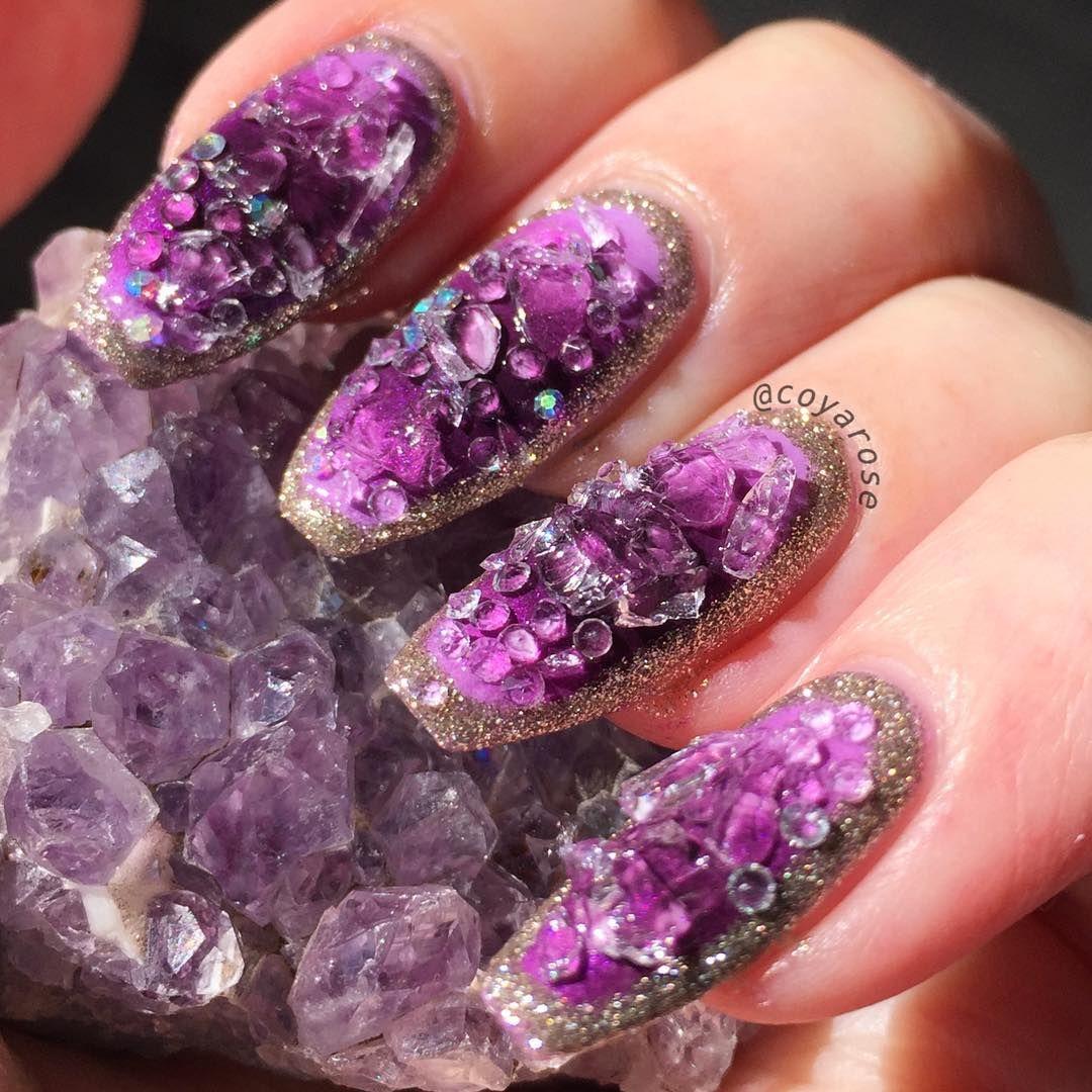 Amethyst Gemstone Nail Art