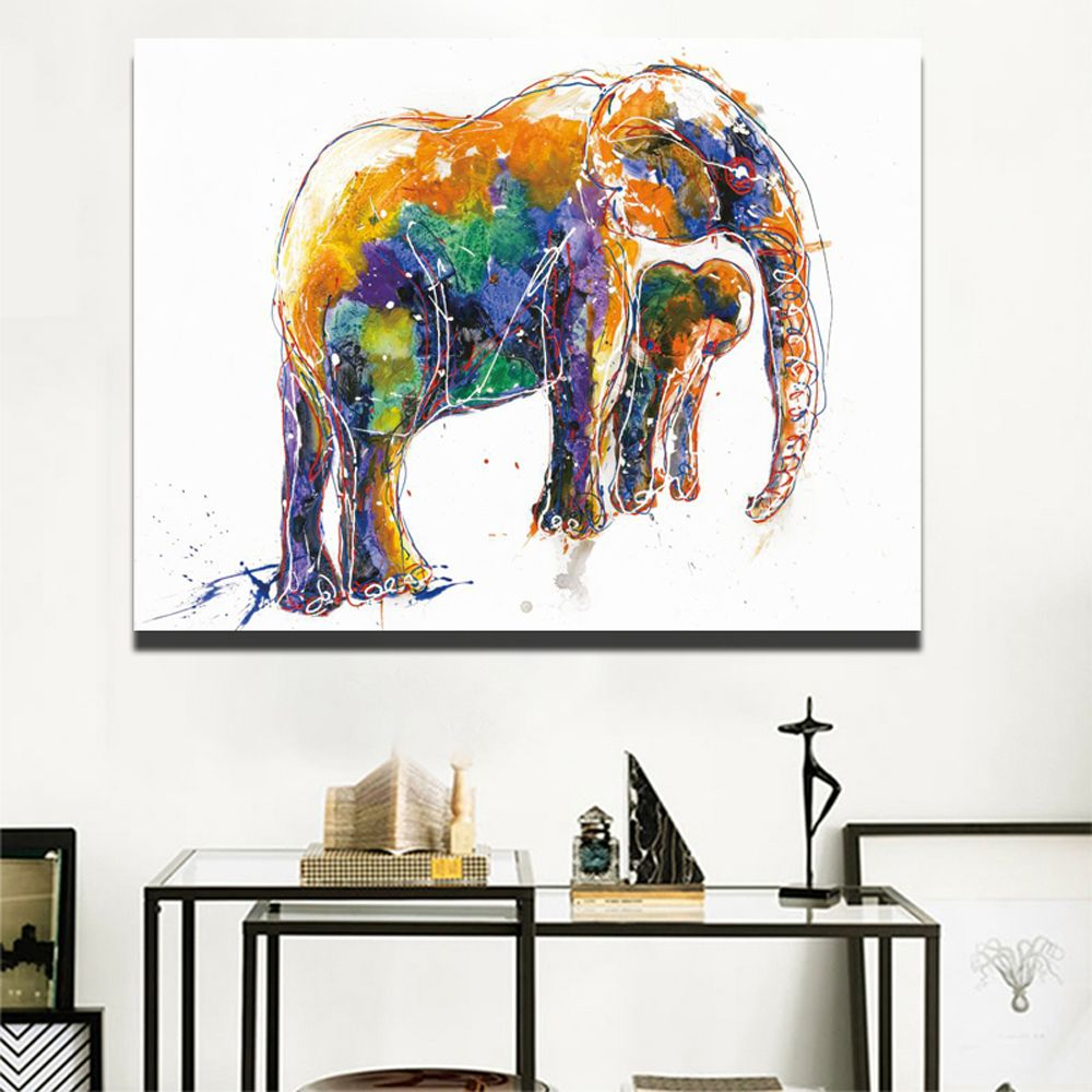 Modern pop art canvas watercolor animal prints and posters for living room wall large abstract elephant pictures for kids room thegallery