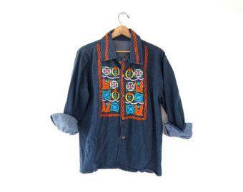 vintage 60s denim jean shirt. embroidered hippie button down shirt.