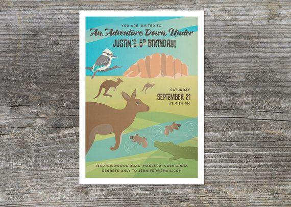 Adventure Down Under Australian Outback Birthday Invitation 15 On Etsy 2835