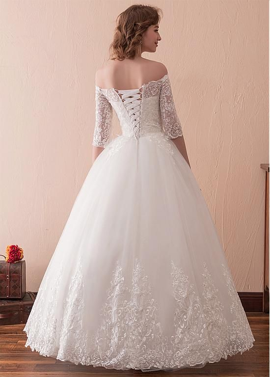 96b1d89a60 In Stock Wonderful Tulle Off-the-shoulder Neckline 3 4 Length Sleeves A-line  Wedding Dress With Lace Appliques