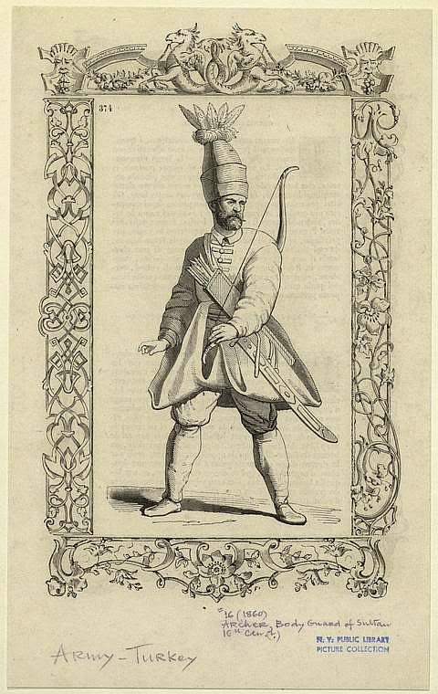 Solak (Janissary Ottoman soldiers) who provided protection to the sultans during imperial ceremonies and wars, one task of the solak soldiers was to keep everybody away from the sultan, even his private servants such as sword bearers and footmen. Solak soldiers carried their weapons when they went out of the palace together with the sultan, however in 1492 after an assassination attempt to the Sultan Bayezid ii, they began to carry weapon also within the palace. (Pharyah)