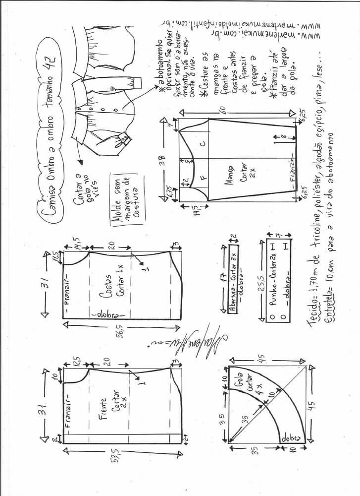 Patrón de Camisa manga larga sin hombros | vestidos | Pinterest ...