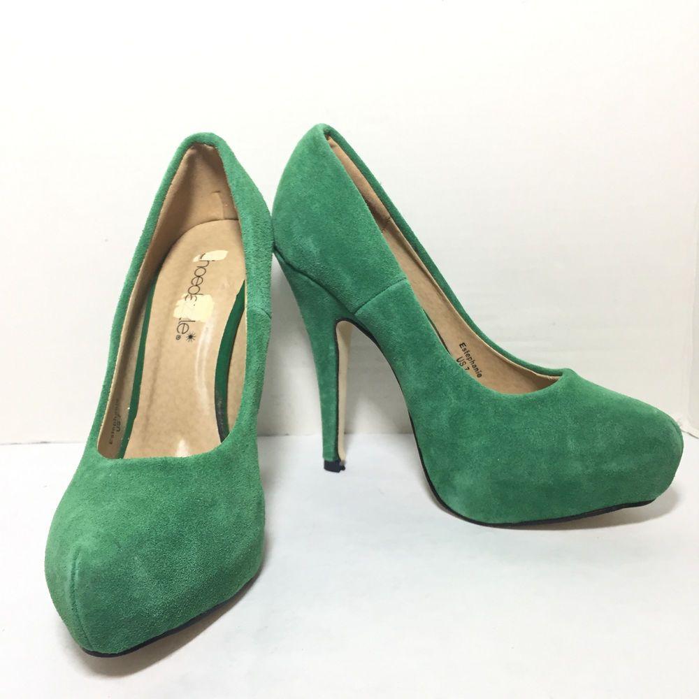 f38aa055c25c Women s Easy Spirit Green Leather Croc Kitten Heel Dress Pumps Size US 7 M