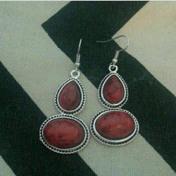 Red Stone Earrings Silver pierced earrings with red stone accents Jewelry Earrings