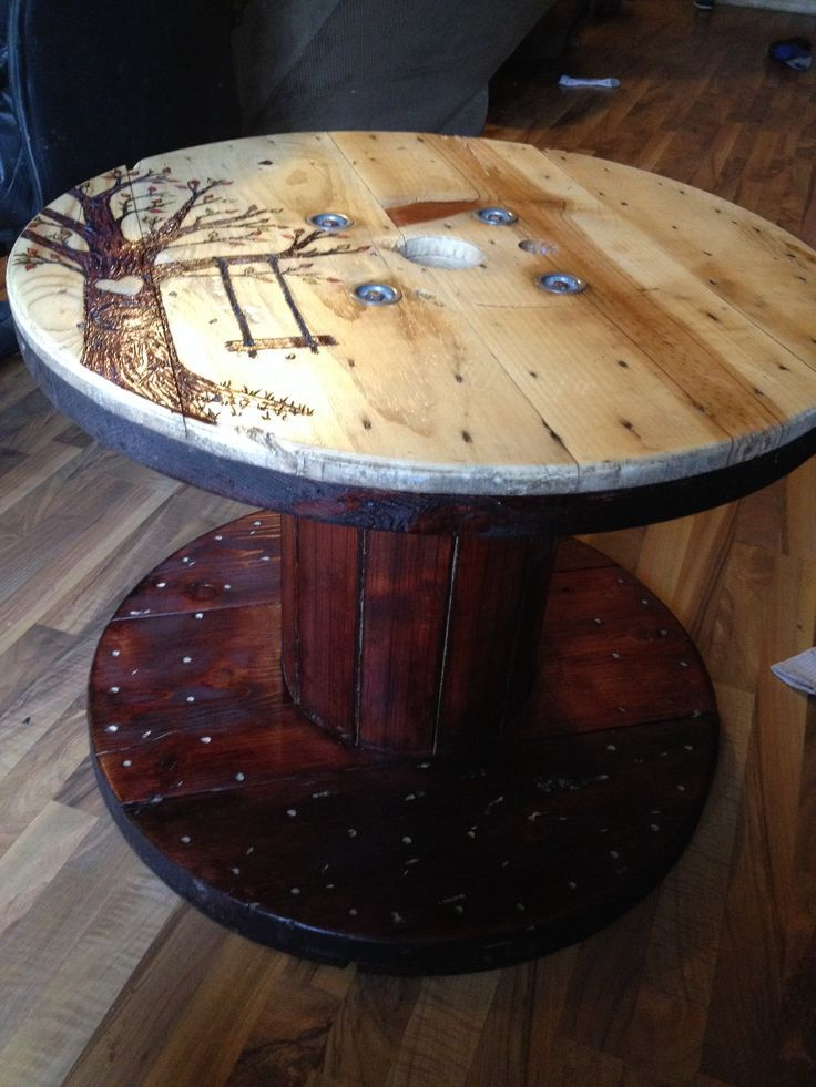 Wood burning a spool. #cablespooltables