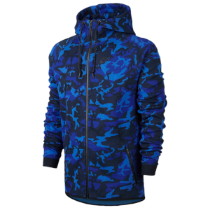 Nike Tech Fleece WR Camo 1MM FZ Hoodie - Men's - Game Royal/Deep Royal