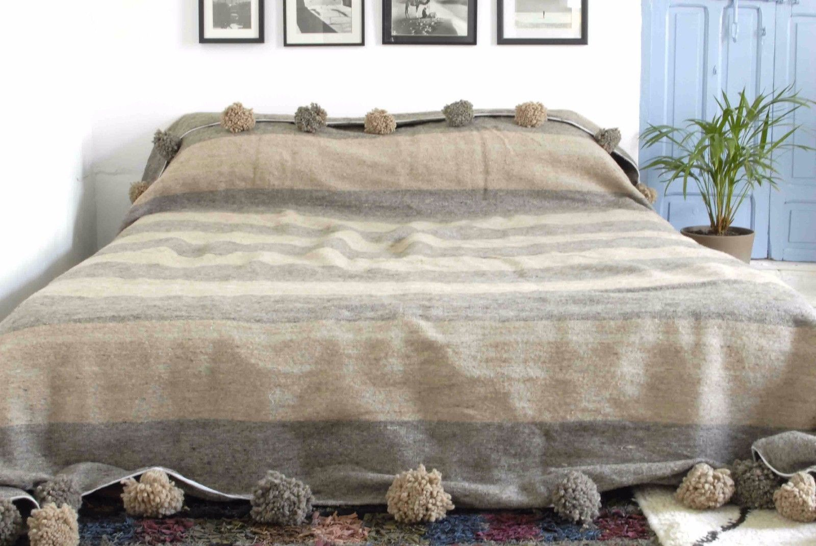 Moroccan Pom Blanket Bedspread Throw Rug By Berberlooms