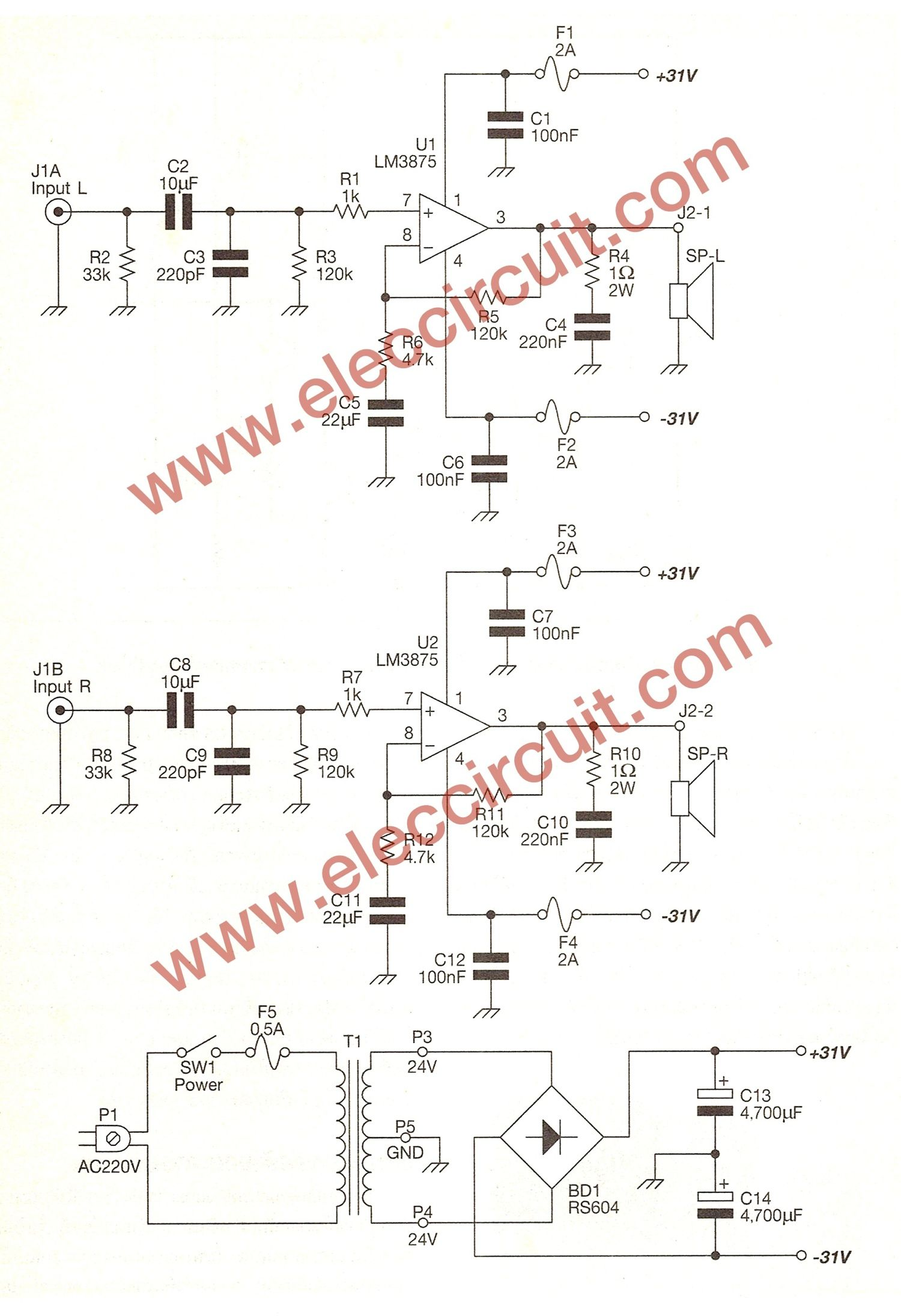 hight resolution of gainclone amplifier circuit stereo 40w using lm3875 eleccircuit amplifier tda2030tda2030 circuitcircuit diagram 14w hifi audio