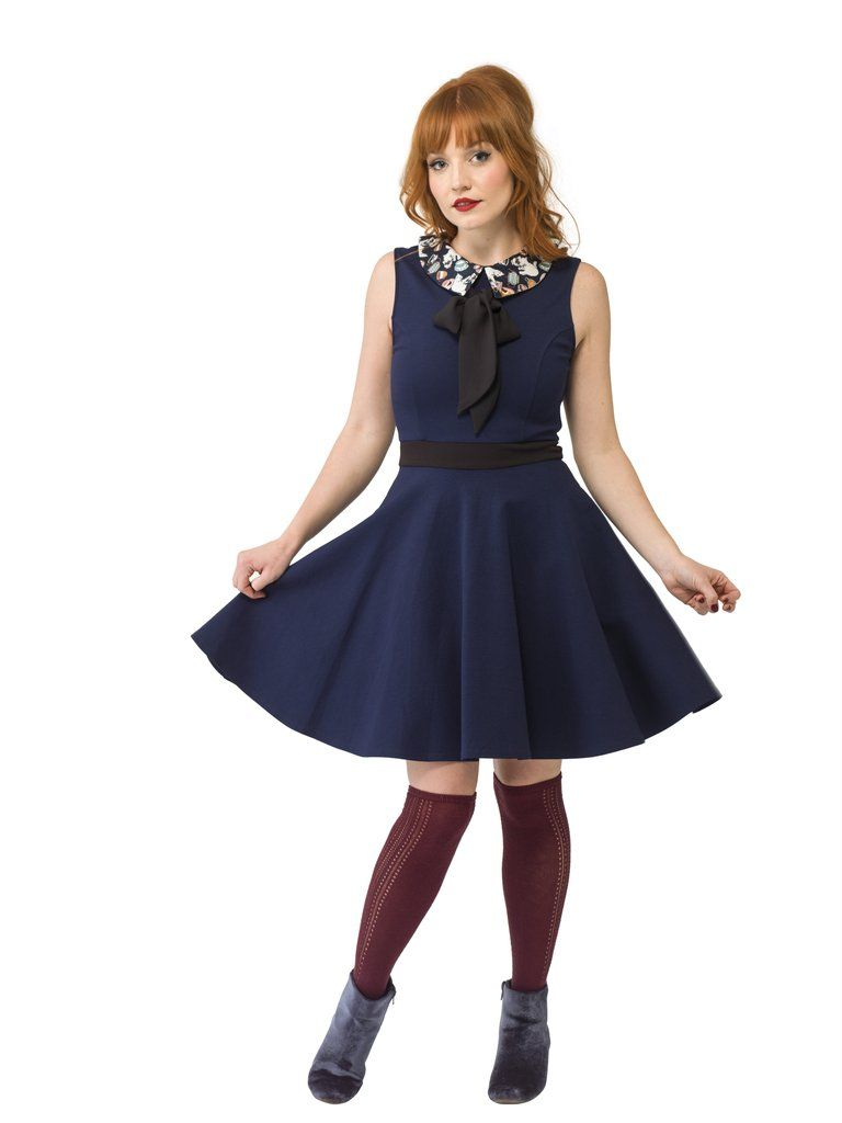 Navy Dress with \