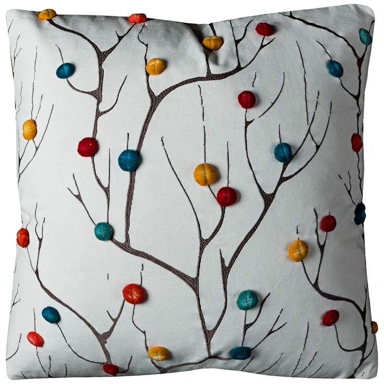 """Branches Multi-Color Abstract Tree 20"""" Square Throw Pillow - #10K05 