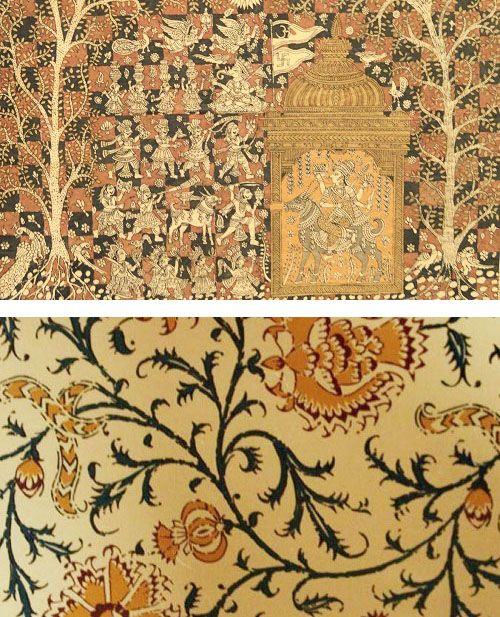 Kalamkari is an exquisite ancient textile art form that involves hand drawing or block printing fabrics with the traditional use of natural vegetable dyes. Though an item of Kalamkari may be hand block printed rather than hand drawn, artisans will still employ the use of a pen to create the finer details of the overall design. #journeyacrossindia #journeymap #indian #crafts #techniques #kalamkari