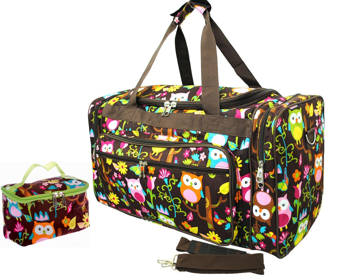 Extra Large Twin Diaper Duffle Bag 4 Piece Set Brown Owl Print Trends In