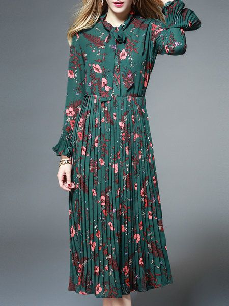 Green Pleated Frill Sleeve A-line Floral Print Midi Dress