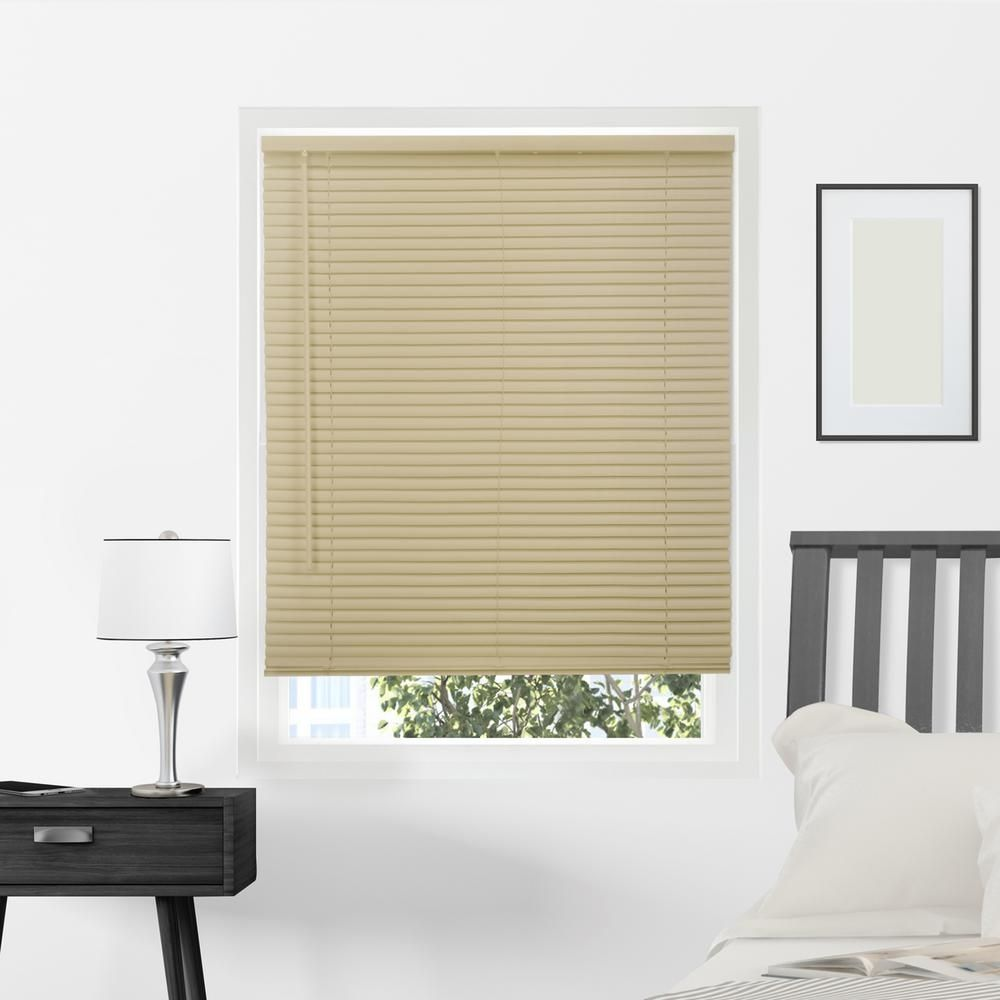 Chicology Gloss Cappuccino Cordless 1 In Vinyl Mini Blind 39 In W X 64 In L Gloss Cappuccino Commercial Grade Products Vinyl Mini Blinds Horizonta