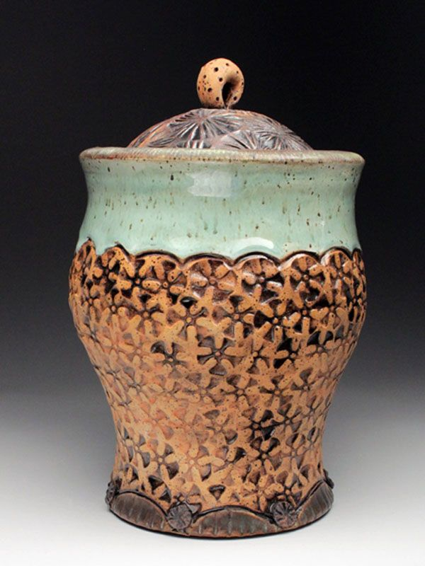 Amy Sanders Textured Ceramic Lidded Jar At Mudfire Gallery