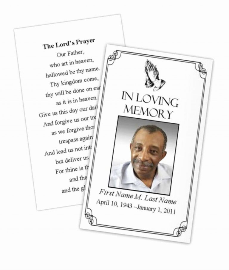 021 Template Ideas Free Memorial Cards Card New Business