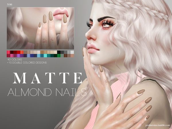 Matte Almond Nails N06 by Pralinesims at TSR via Sims 4 Updates