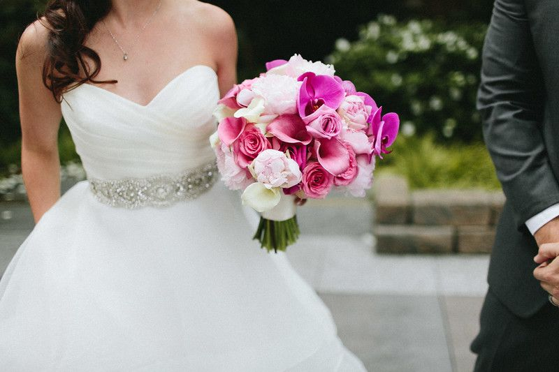 What A Dreamy Mix Pinks In This Bouquet Of Orchids Lilies And