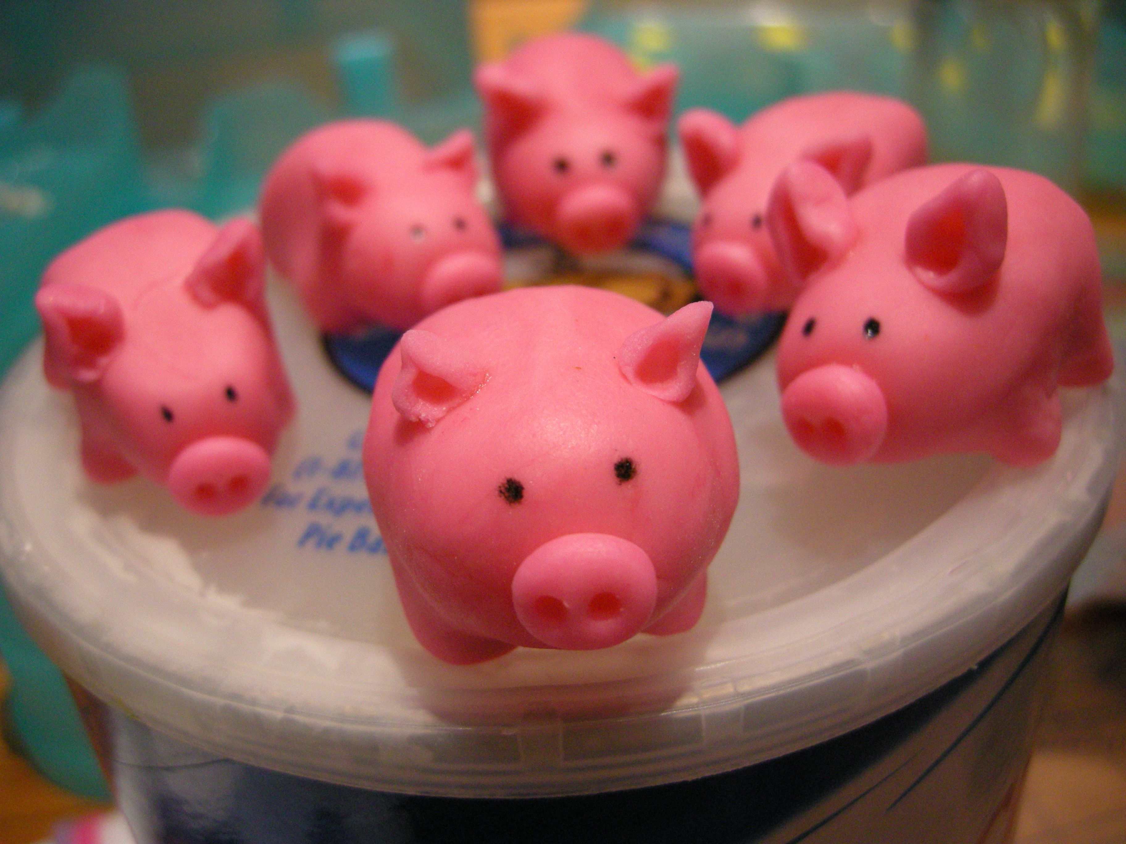 Fondant pigs on top of a tub of Crisco.  It's like home to them.