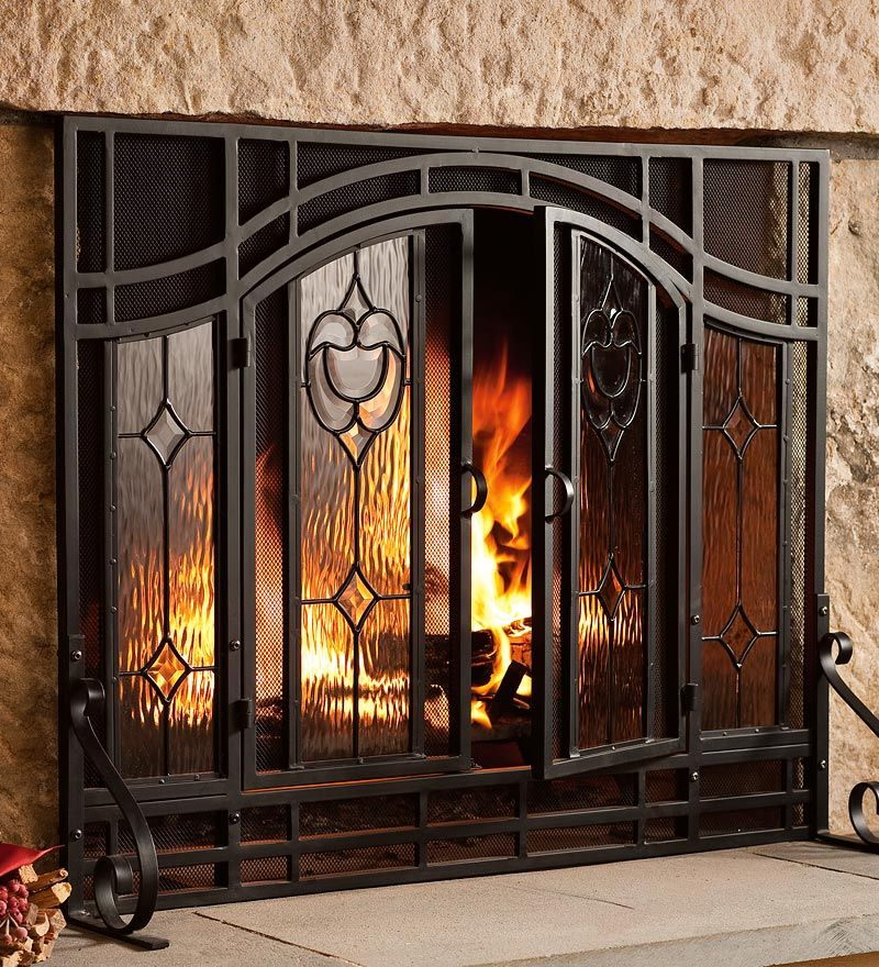 Two Door Floral Fireplace Screen With Beveled Glass Panels Plow