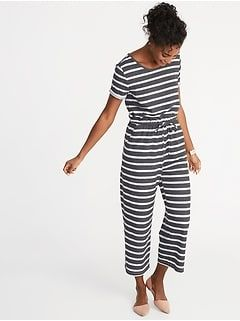 59fb90108f1d Waist-Defined Linen-Blend Striped Jumpsuit for Women in 2019 ...
