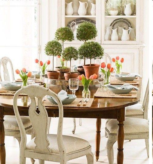 wielkanocny stół w stylu shabby chic, vintage Design Pinterest